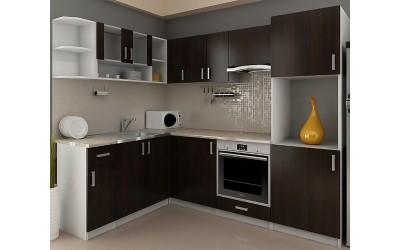 Готова модулна ъглова кухня Кети с термоплот - 240/170 см. - венге/бяло
