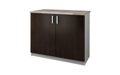 Долен кухненски шкаф Кети М14 Венге/Бяло с две врати и включен термоплот - 100 см.
