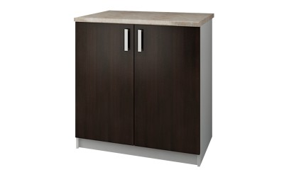 Долен кухненски шкаф Кети М4 Венге/Бяло с две врати и включен термоплот - 80 см.