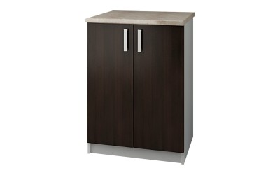 Долен кухненски шкаф Кети М9 Венге/Бяло с две врати и включен термоплот - 60 см.