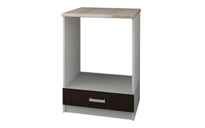 Долен кухненски шкаф Кети М12 Венге/Бяло за вграждане на фурна с включен термоплот - 60 см.