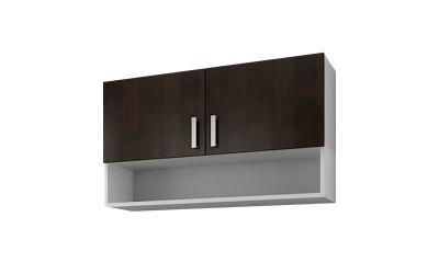Горен кухненски шкаф Кети М15 Венге/Бяло с две врати и ниша - 100 см.