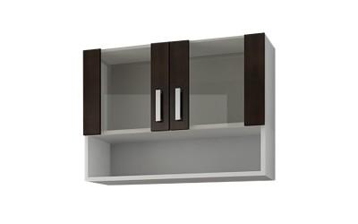 Горен кухненски шкаф Кети М2 Венге/Бяло с две витрини и ниша - 80 см.