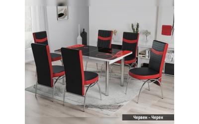 Комплект трапезна маса с 6 бр. столове Лаура Червен / Черен