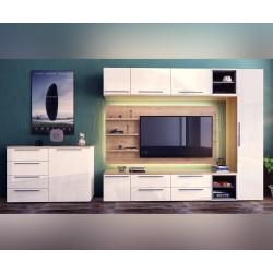 Модулна секция Kiara 1 - Oak hamilton natur/бял гланц/бяло/тъмен диамант - 240 см. - с LED осветление