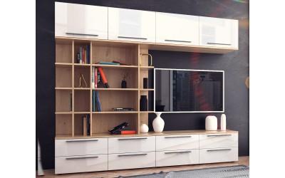 Модулна секция Kiara 3 - Oak hamilton natur/бял гланц/бяло - 240 см.