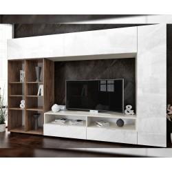 Секция Zita - МДФ Бял гланц/Brandy Castello oak - 280/183 см.