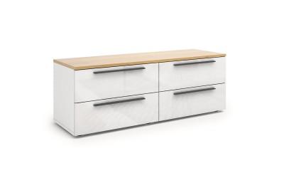 ТВ шкаф Kiara M03 - Oak hamilton natur/бял гланц/бяло