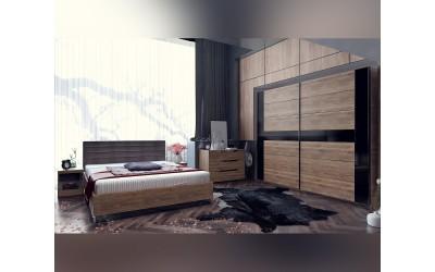 Спален комплект Modern 2 Конфигурация 3 - МДФ Черен гланц/Brandy Castello oak - 160/200 см.