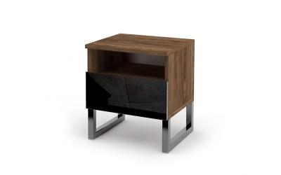 Нощно шкафче Modern 2 M8 - МДФ Черен гланц/Brandy Castello oak - Метални крака - 41 см.