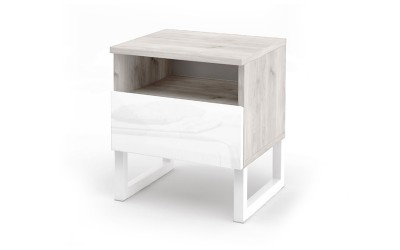 Нощно шкафче Modern M8 - МДФ Бял гланц/Greige Castello oak - Метални крака - 41 см.