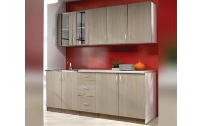 Готова модулна кухня Ева - Тъмна сонома/Бяло шегре 200 см.