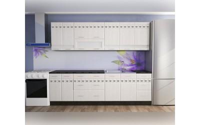 Готова модулна кухня Орхидея МДФ - Бял мат/Бяло шегре 260 см.