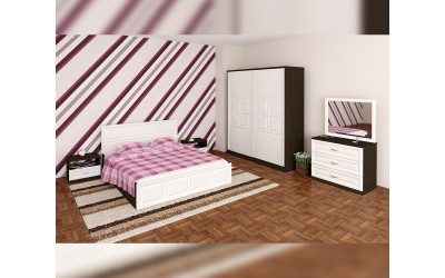 Спален комплект Гала - бяло фладерно/венге