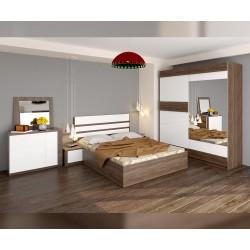 Спален комплект Калия - дъб винтидж оксид/бяло гланц