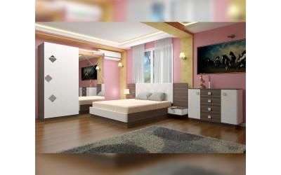 Спален комплект Милано - дъб винтидж оксид/бял гланц