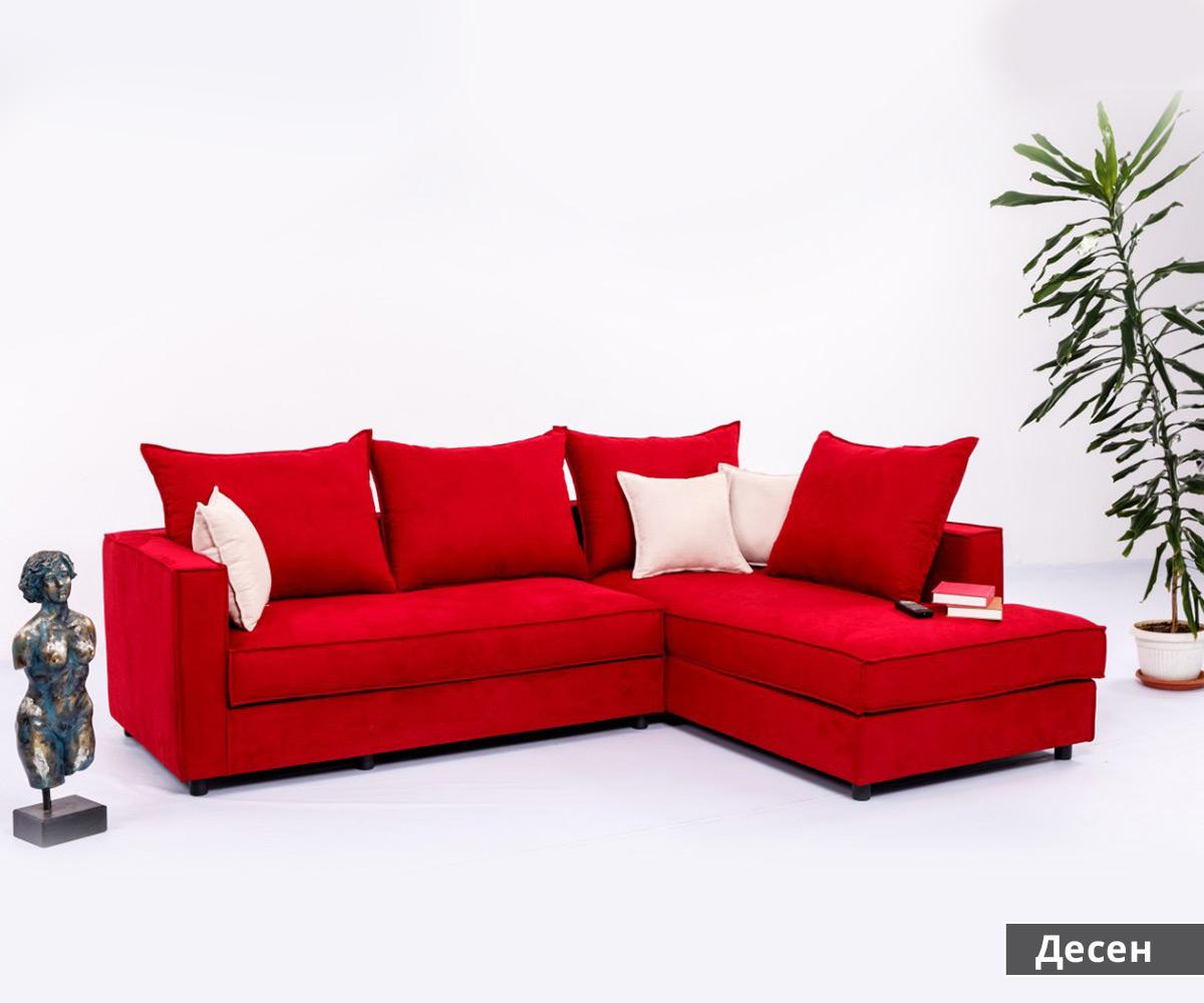 диван в червено