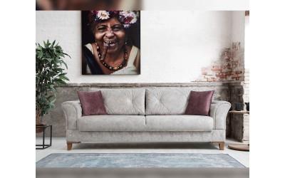 Триместен диван Gold с функция сън и ракла - светло сив