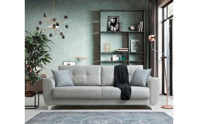 Триместен диван Nisa с функция сън и ракла - светло сив