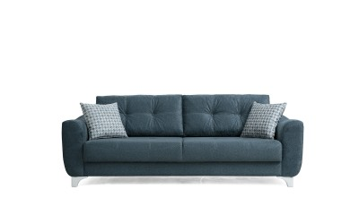 Триместен диван Nisa с функция сън и ракла - син