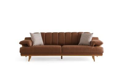 Троен диван FIESTA с функция сън - кафяв