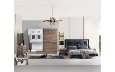 Луксозен спален комплект CARMEN 160/200 см. - тъмен орех