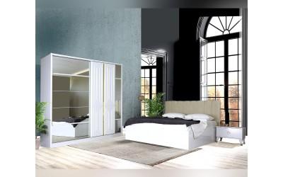 Луксозен спален комплект LUCKY 160/200 см. - бял