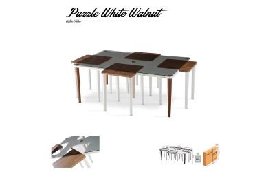 Холна маса Puzzle - Орех/Бял - с помощни масички
