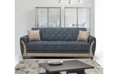 Луксозен клик-клак диван SEREN с ракла - синьо/бежов