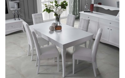 Комплект разтегателна трапезна маса и четири тапицирани столове Giselle - Бял