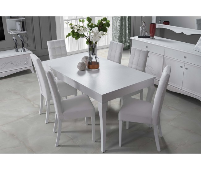Комплект разтегателна трапезна маса и четири тапицирани столове
