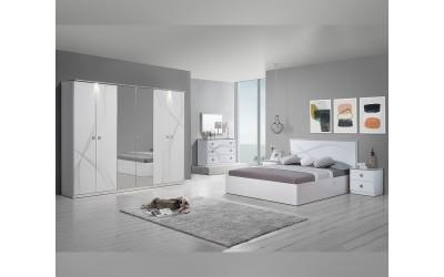 Луксозен спален комплект MATRIX BIANCO 160/200 с LED осветление - Бял