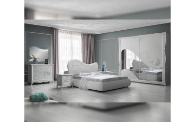 Луксозен спален комплект Anastasia 160/190 - Бял
