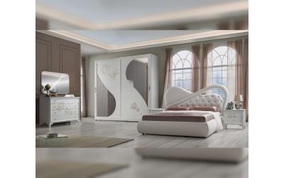 Луксозен спален комплект Peonia 160/190 - Бял