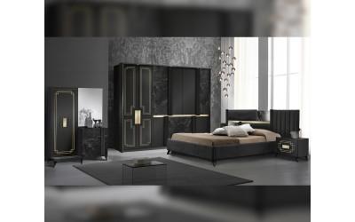 Луксозен спален комплект Beata - Nero-Gold