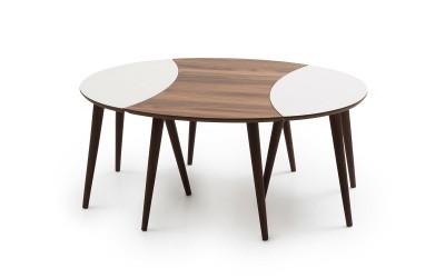 Холна маса с 2 бр. помощни Dunya - орех/крем