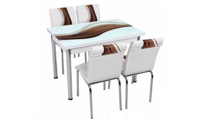 Комплект маса с принт стъкло и 4 бр. столове СВ 018