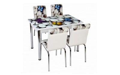 Комплект маса с принт стъкло и 4 бр. столове СВ 023