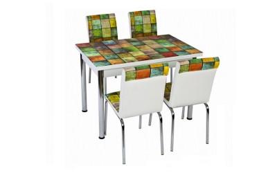 Комплект маса с принт стъкло и 4 бр. столове СВ 024