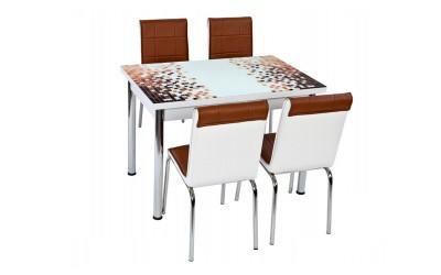 Комплект маса с принт стъкло и 4 бр. столове СВ 030