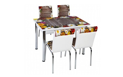 Комплект маса с принт стъкло и 4 бр. столове СВ 043