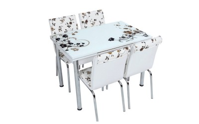 Комплект маса с принт стъкло и 4 бр. столове СВ 049