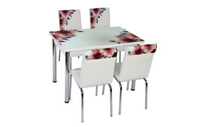 Комплект маса с принт стъкло и 4 бр. столове СВ 055