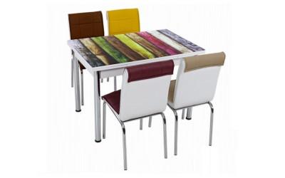 Комплект маса с принт стъкло и 4 бр. столове СВ 057