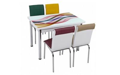 Комплект маса с принт стъкло и 4 бр. столове СВ 058