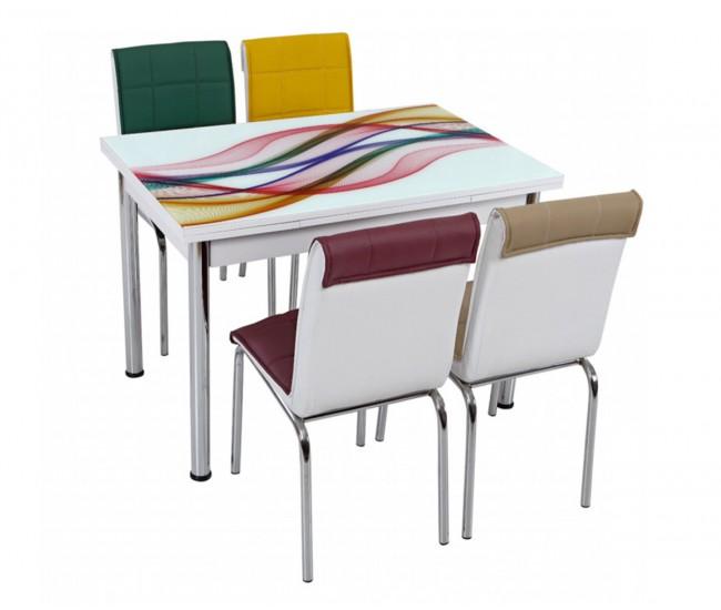 Комплект маса с принт стъкло и 4 бр. столове