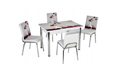Комплект маса с принт стъкло и 4 бр. столове СВ 064