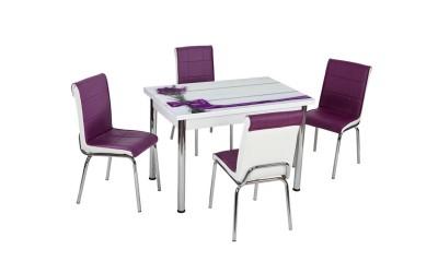 Комплект маса с принт стъкло и 4 бр. столове СВ 071