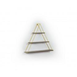 Триъгълна стенна етажерка MT191002 Орех/Жълто
