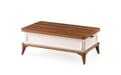 Холна маса с повдигащ механизъм Derya 896 - Орех / Бяло